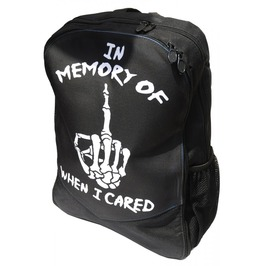 In Memory Of When I Cared Backpack Rucksack Bag Laptop Tablet Holder