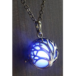 Blue Glowing Mythical Tree Of Life Pendant Necklace Locket Antique Bronze