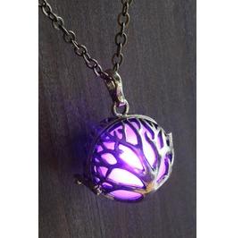 Purple Glowing Orb Tree Of Life Pendant Antique Bronze