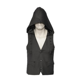 Gothic Hooded Vest For Men Black Poly Cotton Men Modern Goth Vest Hoodie