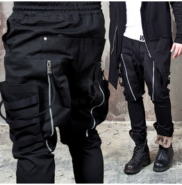 Multiple Hang Strap Big Pocket Black Drawcord Pants 130