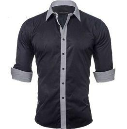 Solid Color Patched Slim Fit Dress Shirt Men Plus Size