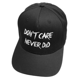 Snapback Cap Dont Care Never Did Baseball Hat Biker Alternative Goth