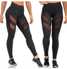 Black High Waist Mesh Cut Out Leggings