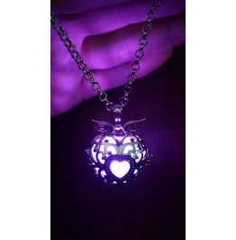 Black Winged Heart Pendant Purple Glowing Necklace Locket