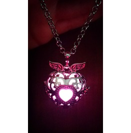 Black Winged Heart Pendant Pink Glowing Necklace Locket