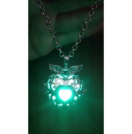 Black Winged Heart Pendant Teal Glowing Necklace Locket
