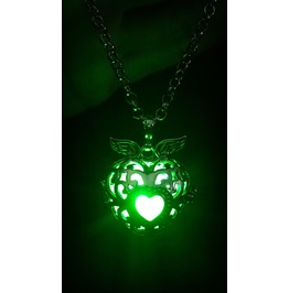 Black Winged Heart Pendant Green Glowing Necklace Locket