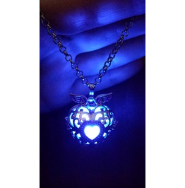 Black Winged Heart Pendant Blue Glowing Necklace Locket