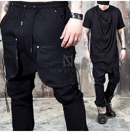 Strap 3 Zippered Big Pocket Black Drawcord Pants 131