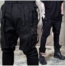 Snap Button Big Pocket Webbing Black Pants 132