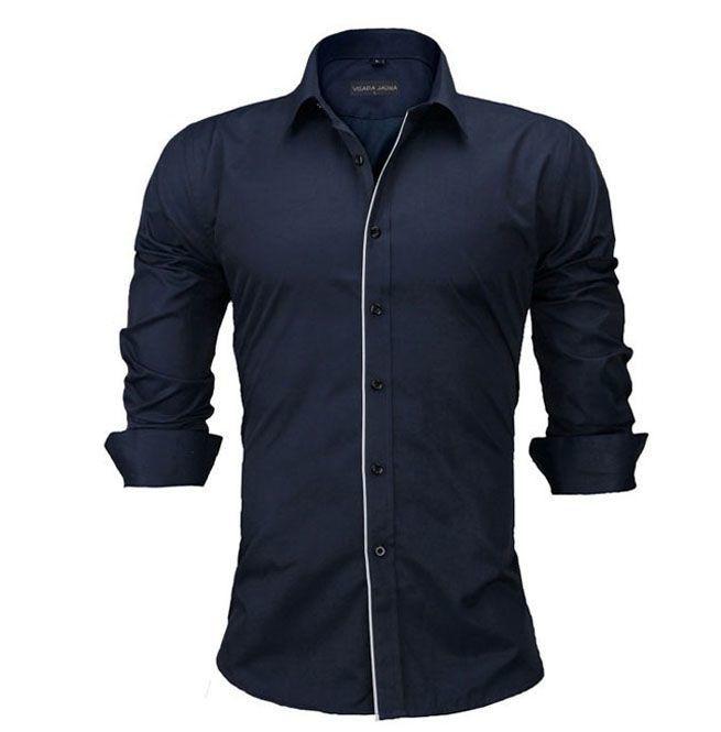Solid Color Long Sleeve Business Dress Shirt Men Plus Size