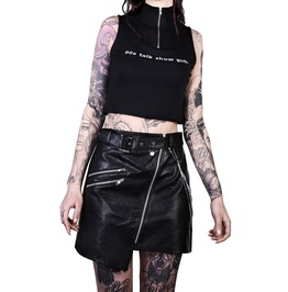 Steampunk Women Leather Kilt Gothic Girls Emo Leather Skirt