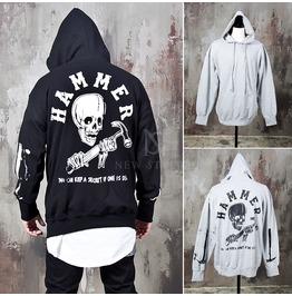 Hammer Skull Printed Back Hoodie 141