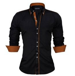 Slim fit british style solid long sleeve cotton mens shirt plus size shirts