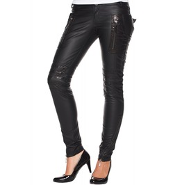 Women Steampunk Trousers Pant Gothic Vegan Faux Leather Pant