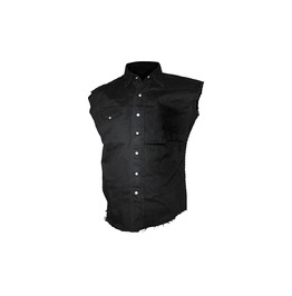 Men Sleeveless Stone Wash Work Shirt Gothic Men Cotton Vest Shirt
