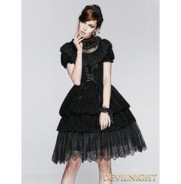 Black Short Sleeves Gothic Lolita Bubble Dress Lq 070