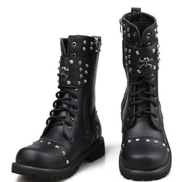 Skull Punk Rivet Lace Up Genuine Leather Army Boots