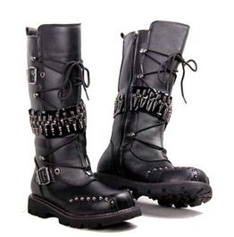 2bd6d2cfc41339 Punk Over Knee Genuine Leather Waterproof Motocycle Military High Boots Men