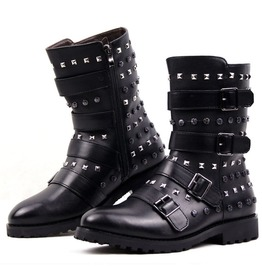Rivet Buckle Punk Rock Military Motorcycle Boots