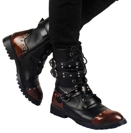 Punk Gothic Buckle Strap Lace Up Mid Calf Motorcycle Boots