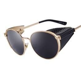 Retro Steampunk Snake Skin Sides Sunglasses Men Women