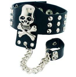 Black leather gothic skeleton skull chain link ring and rivet cuff bracelet bracelets