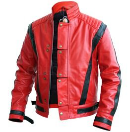 Men Red Thriller Premium Genuine Leather Jacket With Black Stripes