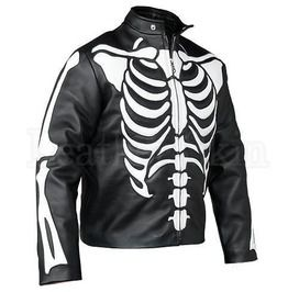 Men Skeleton Biker Motorcycle Genuine Leather Jacket