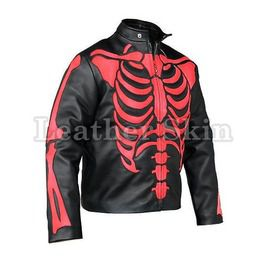Men Red Skeleton Biker Motorcycle Genuine Leather Jacket
