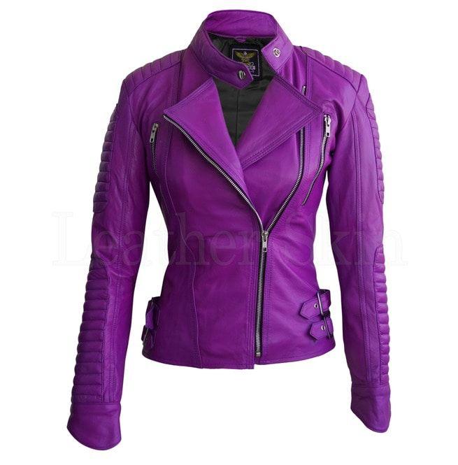 5350a6222 Women Purple Brando Padded Genuine Leather Jacket | Leather Skin