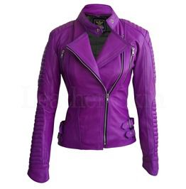 Women Purple Brando Padded Genuine Leather Jacket