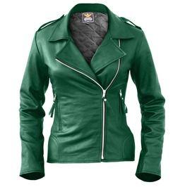 Women Green Brando Genuine Leather Jacket