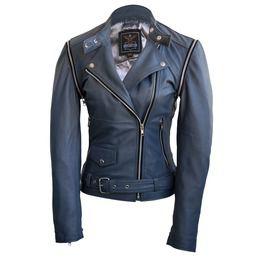 Women Gray Grey Brando Genuine Leather Jacket With Detachable Sleeves