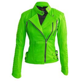 Women Parrot Spring Green Brando Shoulder Padded Genuine Leather Jacket