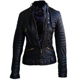 Women Black Brando Padded Genuine Leather Jacket