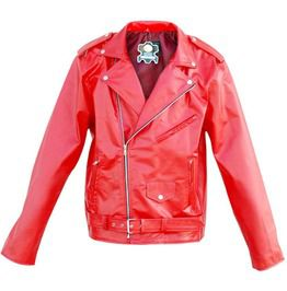 Men Red Brando Biker Motorcycle Genuine Leather Jacket