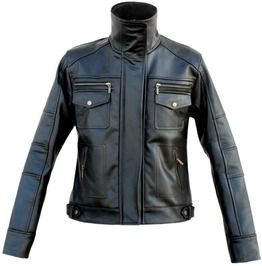 Men Long Collar Genuine Leather Jacket With Front Snap Pockets