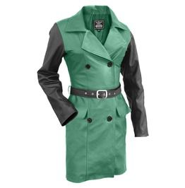 Women Green With Black Sleeves Genuine Leather Coat