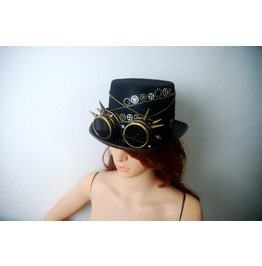 Vintage Style Cosplay Party Steampunk Goggles Top Hat