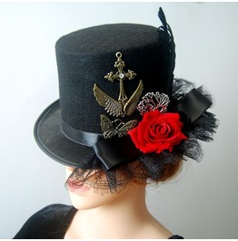 Vintage Cosplay Party Steampunk Rose Top Hat