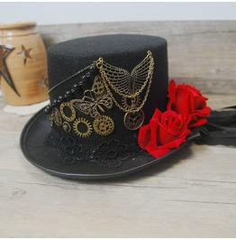 Steampunk Top Hat Vintage Rose Lace Cosplay Party Hats