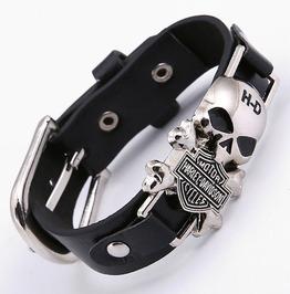 Harley Davidson Motorcyle Skull Design Leather Bracelet