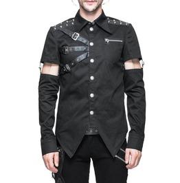 Men Gothic Devil Fashion Shirt Men Punk Vanian Shirt With Detachable Sleeve