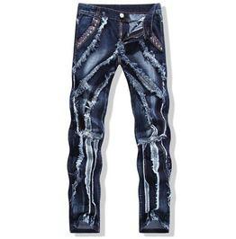 Streetwear Splice Design Patchwork Distressed Blue Slim Fit Denim Pants