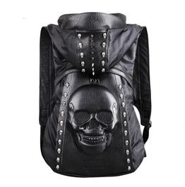 Mens/Womens Punk Motorcycle Leather Backpacks Skull Hooded Casual Backpack