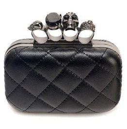 Gothic Vintage Pu Leather Black Skull Brass Knuckle Rings Handbag Clutch f62974e847d7e