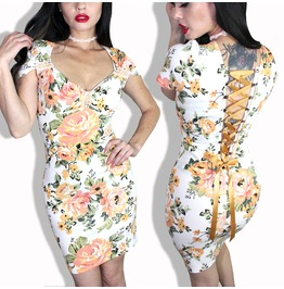 Sexy Floral Corset Back Pinup Tattoo Bodycon Clothing Dress S/M/2/X/L