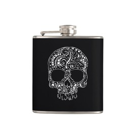 Tattoo Skull Vinyl Wrapped Flask, 6 Oz.
